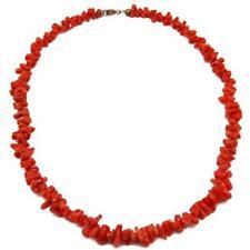 El Coral Collar Coral Rojo Cerdeña Tubos y Cierre Dorado, 45cm Largo y 22gr Peso