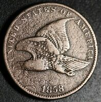 1858 FLYING EAGLE CENT - Small Letters SL - VF VERY FINE Details