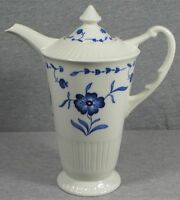 """Syracuse China Nantucket Coffee Pot with Lid - White w/ Blue Flower - 8.5"""" High"""