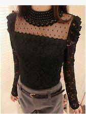 New stylish lady women,s fashion o-neck sexy lace top