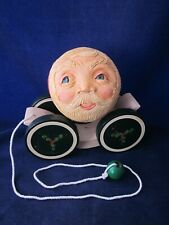 BRIERE Folk Art Pull Toy 1992 Santa Face & 1986 Cart #2732 ~ EXCELLENT