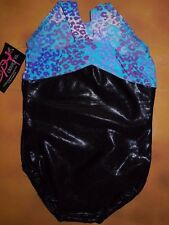 NWT BP Designs Gymnastic Black Foil Racer Back Leotard Leopard Print Youth Med
