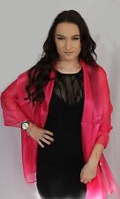 Fuchsia Hot Pink Large Organza ball wrap Shawl Stole Evening Scarf Dinner Dance