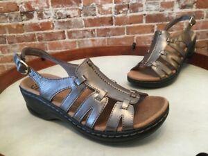 Clarks Metallic Leather Lexi Marigold Ankle Strap Comfort Sandal New