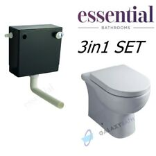 Essential Concealed Cistern Dual Flush Lily Back to Wall Pan Toilet Seat Cover
