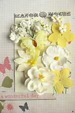 WHITE & Lemon Mix - 16 Flowers & BUTTERFLY 6 Styles PAPER & SILK 10-65mm HH