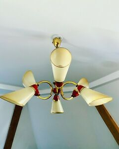 Ancienne Lampe Suspension Design Annee 50   Laiton Vintage Old Lamp Sputnik
