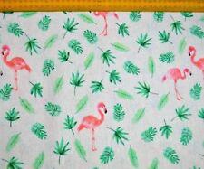 Baumwollstoff bedruckt Flamingos Weiss Pink Grün, 200 g/m², Meterware Canvas