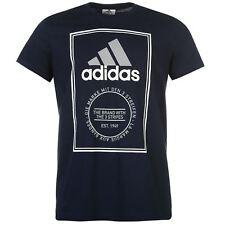 Adidas Essential CAJA con LOGOTIPO Camiseta para hombre Azul Marino/Blanco/Gris sportswear camiseta XXL