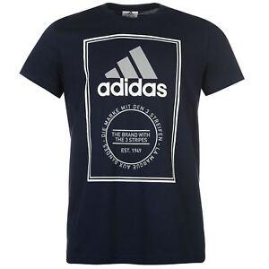 adidas Essential Box Logo T-Shirt Mens Navy/White/Grey Sportswear S Tee Shirt