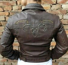Small Ladies Leather Womens Motorcycle Jacket GIPSY brown UK 10 biker cafe racer