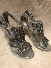 Silver Miss N high heeled sparkly shoes diamanté detail size 6.5 Wedding Cruise