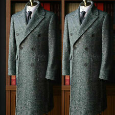 Gray Herringbone Men Suits Wool Overcoat Outwear Long Jacket  Double Breasted