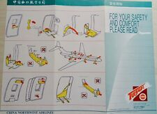 *VERY RARE*  CHINA NORTHWEST Airlines TU 154 trifold Grey Cvr neat Safety Card
