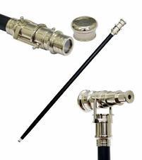 "Nautical Wooden Walking Stick Cane 38"" With Hidden Solid Brass Telescope"