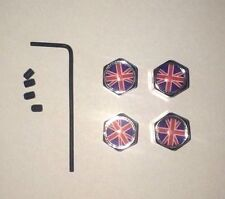 Chrome Valve Caps -  Union Jack Logo, With Locking Screws Set of 4 NEW