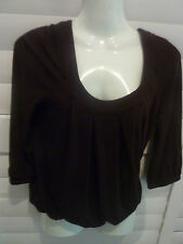 CUE Small 3/4 Sleeve Free Fitting Dark Brown Top