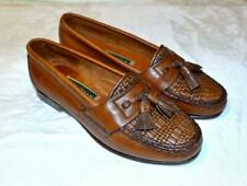Vtg 80s 90s Cole Haan Brown Woven Leather Tassel Loafers Made Usa Flat Shoes 6M