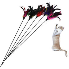 Fun Kitten Toy Cat Feather Bell Wand Teaser  Rod Bead Play Pet Ball Toys