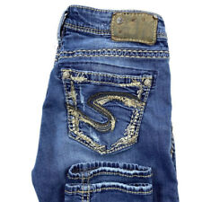 Silver Jeans Womens 28X29 Suki High Rise Skinny Blue Stretch Embroidered Jeans