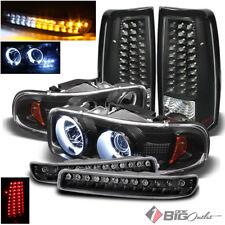 For 03-06 Sierra Black Projector Headlights + Bumper w/LED + LED Tail Lights