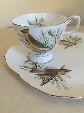 Tuscan Audubon Birds Cedar Waxwing English Bone China Cup & Dessert Plate Set!