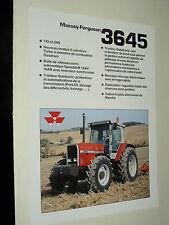 Prospectus MASSEY FERGUSSON 3645 Tracteur tractor traktor brochure prospekt