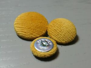 Yellow/Gold Velvet Fabric Buttons, 16mm, 20mm, 25mm, 31mm, or 37mm