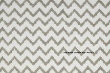 Indian Hand Block Print Cotton Natural Handmade White Grey Chevron Fabric 5 Yard
