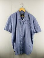 Jeep Men's Short Sleeved Button Up Casual Shirt Size 3XL Blue Goemetric