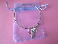 Girls Mermaid Cluster Star Heart Charm Bangle Bracelet New in Gift Bag