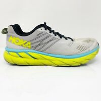 Hoka One One Mens Clifton 6 1102872 LRNC Gray Yellow Running Shoes Size 11