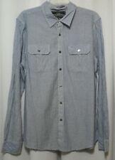 Men's Rag Dynasty Long Sleeve Blue Stripe Button Front Shirt Size L Large 1094