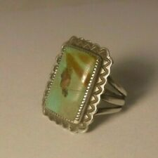 Vintage STERLING SILVER & Natural Turquoise Old Pawn Navajo Ring size 4.5 NICE!!