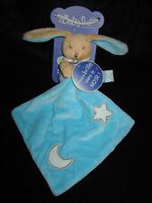 Doudou Lapin avec carré luminescent Babynat' Baby Nat' bleu lune étoile BN0137