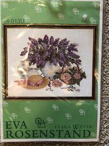 "EVA ROSENSTAND CLARA WAEVER Wichelt  ""LILACS, ROSES & HAT"" Cross Stitch Kit"