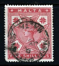 MALTA Queen Victoria 1886 5s. Rose Wmk Crown CC SG 30 VFU