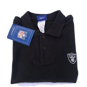 Reebok NFL Raiders Black Men's Polo collared short sleeve Shirt men's Sz XL  NWT
