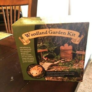 NEW Woodland MINI Fairy Garden Planter Terrarium Kit ~ Bridge Signs Logs Gravel
