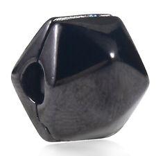 .925 Sterling Silver Black Clip Charm Bead Fits European Bracelet Bangle S2328-2