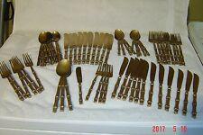 65 pc SET BRASS BAMBOO Vintage Flatware Steak Knives Iced Tea Spoons Forks HUGE