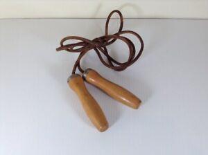 Healthways Hollywood 7.5' Leather Jump Rope Wooden Handles Vintage