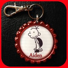 Personalized DIARY of A WIMPY KID Name Bottle Cap Pendant, Key Chain Zipper Pull