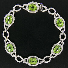 18k White Gold 11.17ctw Cushion Peridot & F VS1 Diamond STATEMENT Bracelet