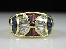 18K Ruby Sapphire Diamond Ring Yellow Gold Band Roberto Legnazzi $7500