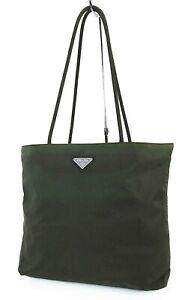 Authentic PRADA Dark Green Nylon Tote Hand Bag Purse #39564