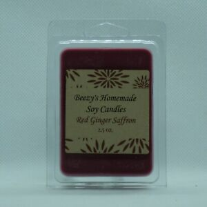 Beezy's Homemade Soy Candles Red Ginger Saffron Natural Soy Wax Red Melts/Tarts