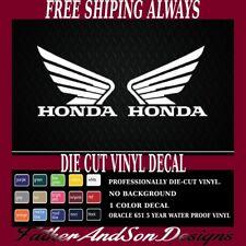 "(2) 4.5""  HONDA wing motorcycle tank decal sticker GLOSS WHITE Vinyl"