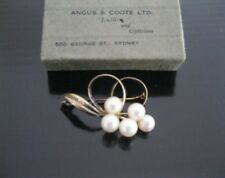 Gold plated sterling silver pearl brooch - 925 pearls brooch marked