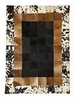 Cowhide Designer Patchwork rug,Bedside /Rare /Unique hair-on Rug - Black & Brown